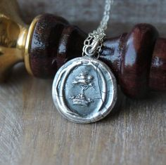 Guardian of family-Oak tree and crown wax seal impression fine silver charm sterling silver necklace by ALMrozarka on Etsy Silver Charms, Sterling Silver Necklaces, Oak Tree, Wax Seals, Handmade Jewelry, Charmed, Pendant Necklace, Chain, History