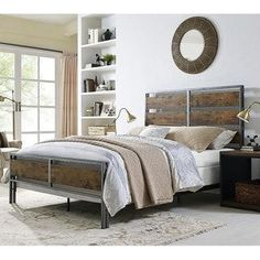 Shop for Queen Size Metal and Wood Plank Bed - Brown. Get free shipping at Overstock.com - Your Online Furniture Outlet Store! Get 5% in rewards with Club O! - 20486656