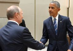 Smirk ... Smiling Putin met Obama on the sidelines of the G20 summit taking…