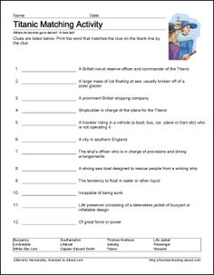 Printable Titanic Vocabulary Worksheet