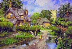 Large Country Scene Paintings | victorian country painting ivy country author journalist setting with ...