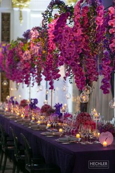 Stunning full on purple wedding reception inspiration - Reception Decor Orchid Centerpieces, Wedding Centerpieces, Wedding Table, Rustic Wedding, Gold Wedding, Garden Wedding, Wedding Cakes, Wedding Ideas, Purple Orchid Wedding