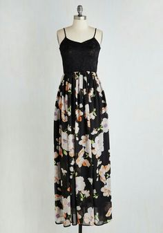 So pretty. Floral and black lace maxi from Modcloth.