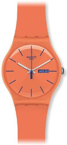Swatch SUOO701 Unisex Orange Rebel Silicon Rubber Strap Dark Orange Dial Watch Swatch. $70.00. Date. Orange Plastic Strap. Water Resistance : 3 ATM / 30 meters / 100 feet