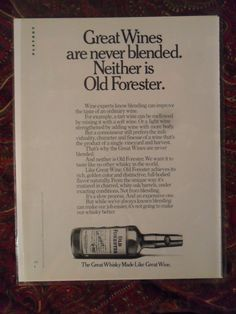 1977 Print Ad Old Forester Bourbon Whiskey Great Wines Never Blended | eBay