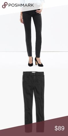 """Madewell 10"""" High-rise Skinny Jeans I Captain Wash lean and sexy style with an extra-high 10"""" rise. This one's legs-for-days look and supersleek effect come from using best-of-the-best denim.    Premium 93% cotton/6% poly/1% elastane denim from Italy's Candiani mill. Soft yarn-dyed black with a worn-in-and-loved-up look. Black oxide button, thread bar tacks, tonal stitching with double-needle details. Sit above hip, fitted through hip and thigh, with a slim leg. Front rise: 10""""; inseam: 32…"""