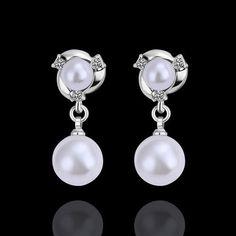 BEAU! bijoux boucles d oreilles en cristal Swarovski et blanc perle & Or…