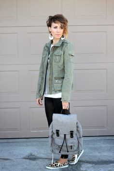 ONE little MOMMA: Military Jacket and Leather Leggings
