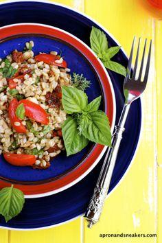 Apron and Sneakers - Cooking & Traveling in Italy: Mediterranean Farro Salad with Swordfish & Salmoriglio Dressing @Rowena Dumlao Giardina (Apron and Sneakers)