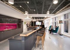 Amey's new office design included a new reception area, a business innovation centre and staff cafeteria, plus spaces to facilitate collaboration.