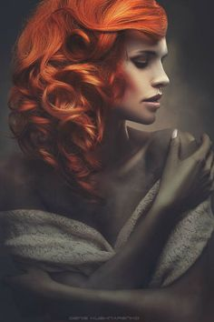 Fiery Woman by Denis Kushnarenko | red currly hair