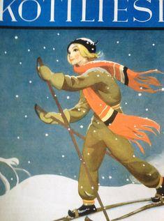 The Winter Art of Martta Wendelin ~ Cross Country Skiing ~ Orange Accents Vintage Christmas Cards, Vintage Cards, Vintage Postcards, Woman Drawing, Drawing S, Ski Posters, Vintage Winter, Kokeshi Dolls, Winter Art