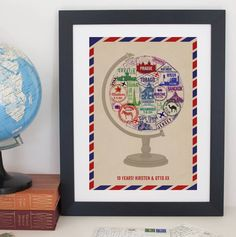 Personalised Passport Stamp Globe Print