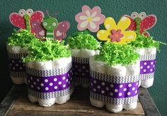 Set of 5 Butterfly Flower Garden Mini Diaper Cakes by StorkandCo, $40.00