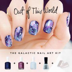 Out of This World:   This new nail art kit is out of this world, stunning. Luckily, this shimmery sky inspired look will shine just as bright as your soul. This design is super easy to replicate right from home...pinky promise!