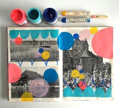 Party Time Altered Book Spread by Lisa Congdon