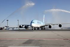Korean Air inaugural flight to FRA Korean Airlines, Airbus A380, Airplane Travel, Private Jet, Aviation, Aircraft, Air Ride, Airplane, Private Jets
