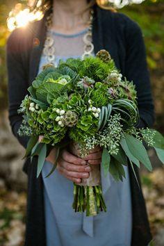 green, bouquet, rustic, natural, succulent, Bridal bouquet, wedding bouquet, kale, scabiosa pods, Fall, Spring, Summer, Winter | FollowPics