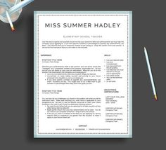 teacher resume template for word and pages by landeddesignstudio - Teacher Resume Template Word
