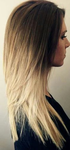 ombre straight hair blonde ends