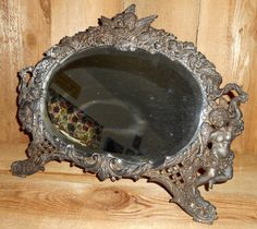 THIS IS A 1880 ANTIQUE SIGNED AMERICAN ART MIRROR. SIGNED WITH NB& IW ( NATIONAL BRASS AND IRON WORKS, MADE IN ART NOUVEAU STYLE AND HAS THE