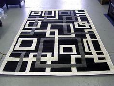 Modern Gray White Black Design 5x8 Area Rug Carpet NEW