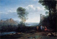 1677- Claude Lorrain paints one of his Pastoral Landscapes.  These scenes of pre-civilized Europe give Europeans a feeling of moral superiority, showing them as inherently kind & simple people before autocracy & science gave them the upper hand over the ethnic groups currently being slaughtered by them on the other side of the world.
