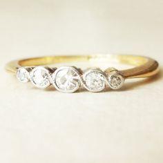 Art Deco Five Diamond Eternity Ring, 18k Gold and Platinum Milgrain Twist Over Framed Diamond Engagement Ring Approx. Size US 6 / 6.25