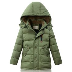 Boys Girls Winter Down Jacket Warm White Duck Down Velvet Long length Coat Outwear Causal Fashion Size for 5, 6, 7,8,9,10 Years