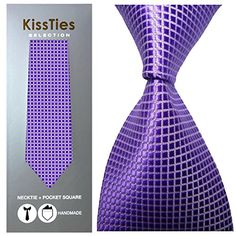 Introducing KissTies Mens Necktie Set Solid Tie  Handkerchief in Gift Box Lavender. Great Product and follow us to get more updates!