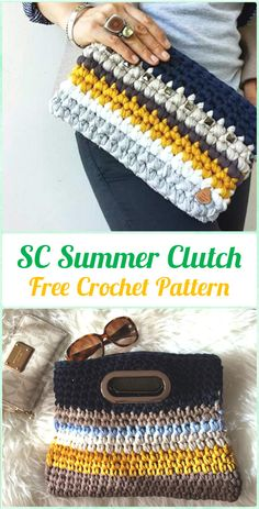 Crochet SC Summer Clutch Free Pattern - Crochet Clutch Bag & Purse Free Patterns