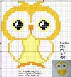 Yellow owl -- perler beads