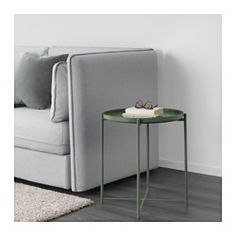$29 IKEA - GLADOM, Tray table, dark green, , You can use the removable tray for serving.The tray's edges make it easy to carry and reduces the risk of glasses or bowls sliding off.The surface is durable and easy to clean, since it's made from powder-coated steel.You can easily lift and move the entire table, for example from the sofa to the reading chair.