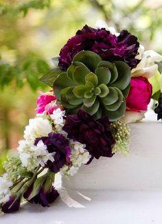 DIY Briadal flower bouquets DIY Wedding Flowers : DIY Cascading Plum and Fuchsia Bouquet