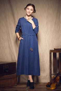luxurious pleated long linen dress for women.  【Details】 1. more than 60 handmade pleats all over the dress.  a skilled tailor can only make a dress