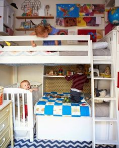 Shared kid room inspiration. Bunk beds and crib with lots of fun shelves and colours.