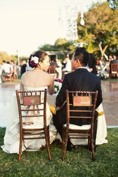 Bring chairs from the house for bride and groom