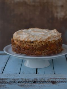 """""""Máglyarakás"""" A specific Hungarian dessert with walnuts, apples and apricot meringue on the top in form of an elegant cake"""