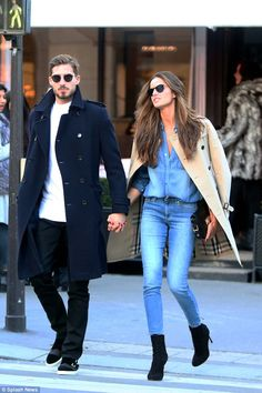 No letting go: The couple made for a stylish duo as they crossed the road hand in hand...
