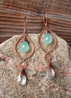 Waterfall. Hammered Artisan Copper Loop Earrings with Wire Wrapped Aqua Chalcedony and Mystic Quartz Gemstones-Boho Gypsy Vintage Drop