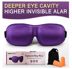 AMAZKER Sleep Mask Upgraded Invisible Alar & Deep Orbit Eye Mask for Sleeping Anti-fade Anti-bacterial Anti-mite Contoured Face Mask Blindfold with Ear Plugs Travel Pouch Best Night Eyeshade Best Sleep Mask, Eyeshadow For Brown Eyes, Look Good Feel Good, Face Contouring, Uneven Skin Tone, Ear Plugs, Radiant Skin, Face Serum, 1 Oz