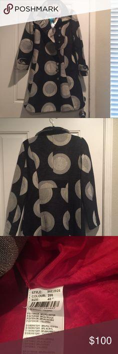 "Coat Black silver and grey retro circle design with silver sparkles. Unique coat! Designer Desigual mid sleeved couture. 39"". Desigual Jackets & Coats"