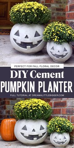 Turn a trick or treat pumpkin pail into an amazing cement pumpkin planter. The Jack side is perfect for Halloween and the pumpkin works for all of Autumn! Halloween Arts And Crafts, Halloween Projects, Diy Halloween Decorations, Halloween Pumpkins, Diy Projects, Holidays Halloween, Halloween Diy, Pumpkin Planter, Pumpkin Crafts