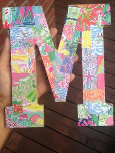 DIY Lilly letters made out of old agendas