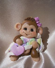 monkey Christmas ornament  childrens cake topper baby by clayqts, $21.95