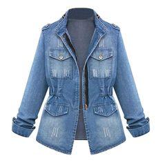 OFF Jeans Jackets Cardigan Coat Top-Streetwear Elastic Women Denim Casual Slim Zipper No Jeans Casual, Lässigen Jeans, Loose Jeans, Slim Jeans, Ripped Jeans, Lined Denim Jacket, Denim Coat, Denim Jackets, Denim Oversize