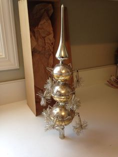 Antique Mercury Christmas Tree Topper Glass, Spring Wire