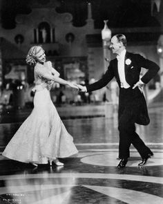 "Actress Ginger Rogers (1911-1995), with dancer Fred Astaire (1897-1987), in Mark Sandrich's film, ""Top Hat,"" 1935."