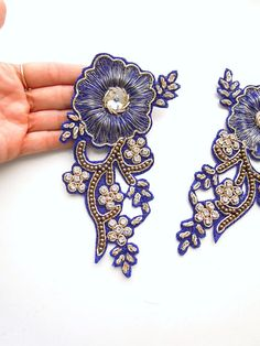 Set 2 Blue hand embroidered appliques Blue and gold boho