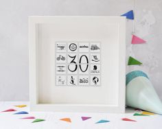 Personalised Birthday Tile Frame - 30th birthday - 40th Birthday - 50th Birthday - 21st Birthday - Personalised Birthday Print -